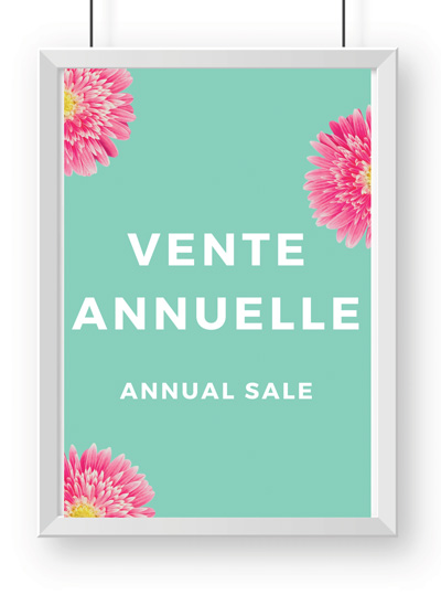 Photo: A poster with 'Ventre Annuelle' in a larger font and 'Annual Sale' below it in a smaller font